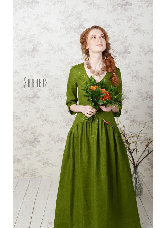 Платья ручной работы. Ярмарка Мастеров - ручная работа. Купить Платье из льна «Прекрасное зеленое». Handmade. Зеленый, зеленое платье