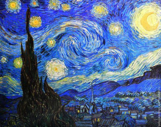 """Пейзаж ручной работы. Ярмарка Мастеров - ручная работа. Купить """"Звездная ночь"""" Винсент ван Гог. Handmade. Тёмно-синий"""
