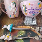 Наборы посуды ручной работы. Ярмарка Мастеров - ручная работа Набор посуды с декором из полимерной глины. Handmade.
