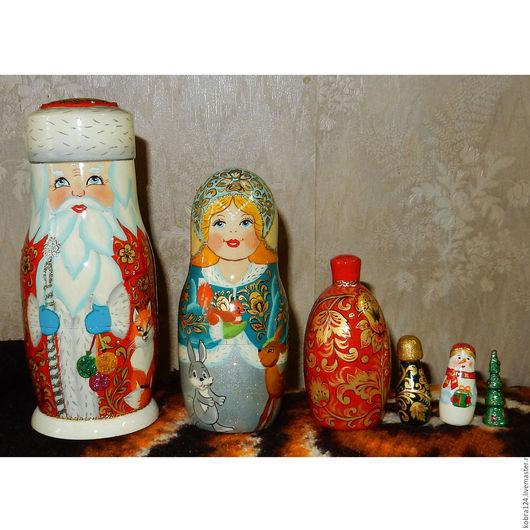"""Матрешки ручной работы. Ярмарка Мастеров - ручная работа. Купить Матрёшка """"Хохломской Новый год"""". Handmade. Комбинированный, дед мороз"""