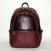 Сумки и аксессуары handmade. Livemaster - original item Backpack leather Burgundy women`s