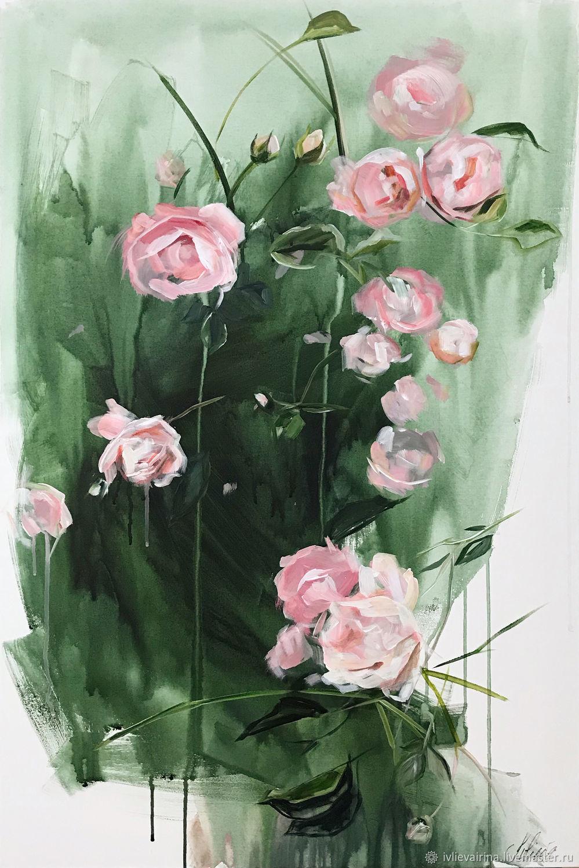 Картина акрилом Розовый сад 90х60 см, Картины, Москва,  Фото №1