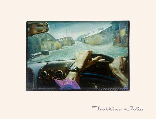 """Обложки ручной работы. Ярмарка Мастеров - ручная работа. Купить Бумажник водителя """"Fast driver"""". Handmade. Натуральная кожа, для автодокументов"""