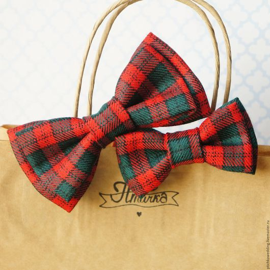 Галстуки, бабочки ручной работы. Ярмарка Мастеров - ручная работа. Купить Парные галстуки-бабочки для папы и сына в шотландскую клетку. Handmade.