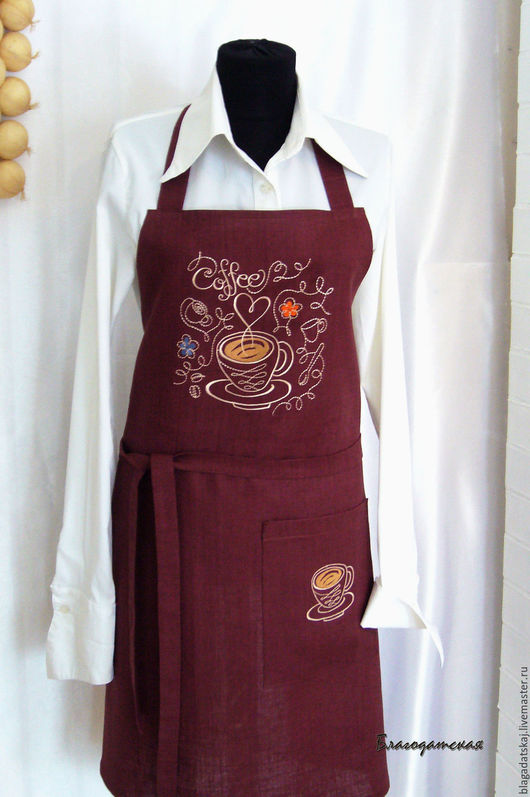 Кухня ручной работы. Ярмарка Мастеров - ручная работа. Купить Передник Я люблю кофе. Handmade. Коричневый, кофе, вышивка