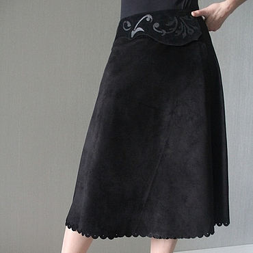 Одежда ручной работы. Ярмарка Мастеров - ручная работа Юбка из замши черного цвета. Handmade.