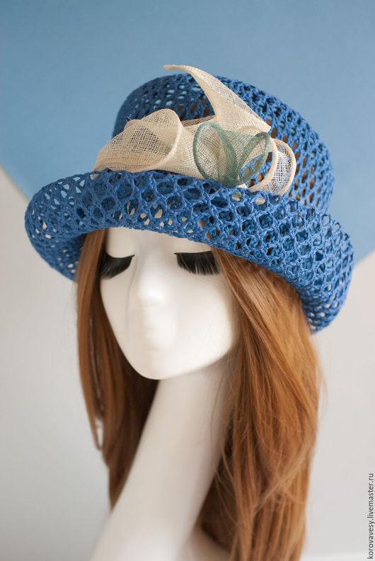 """Шляпы ручной работы. Ярмарка Мастеров - ручная работа. Купить """"Букет белых калл"""". Handmade. Синий, цилиндр, синяя шляпа"""