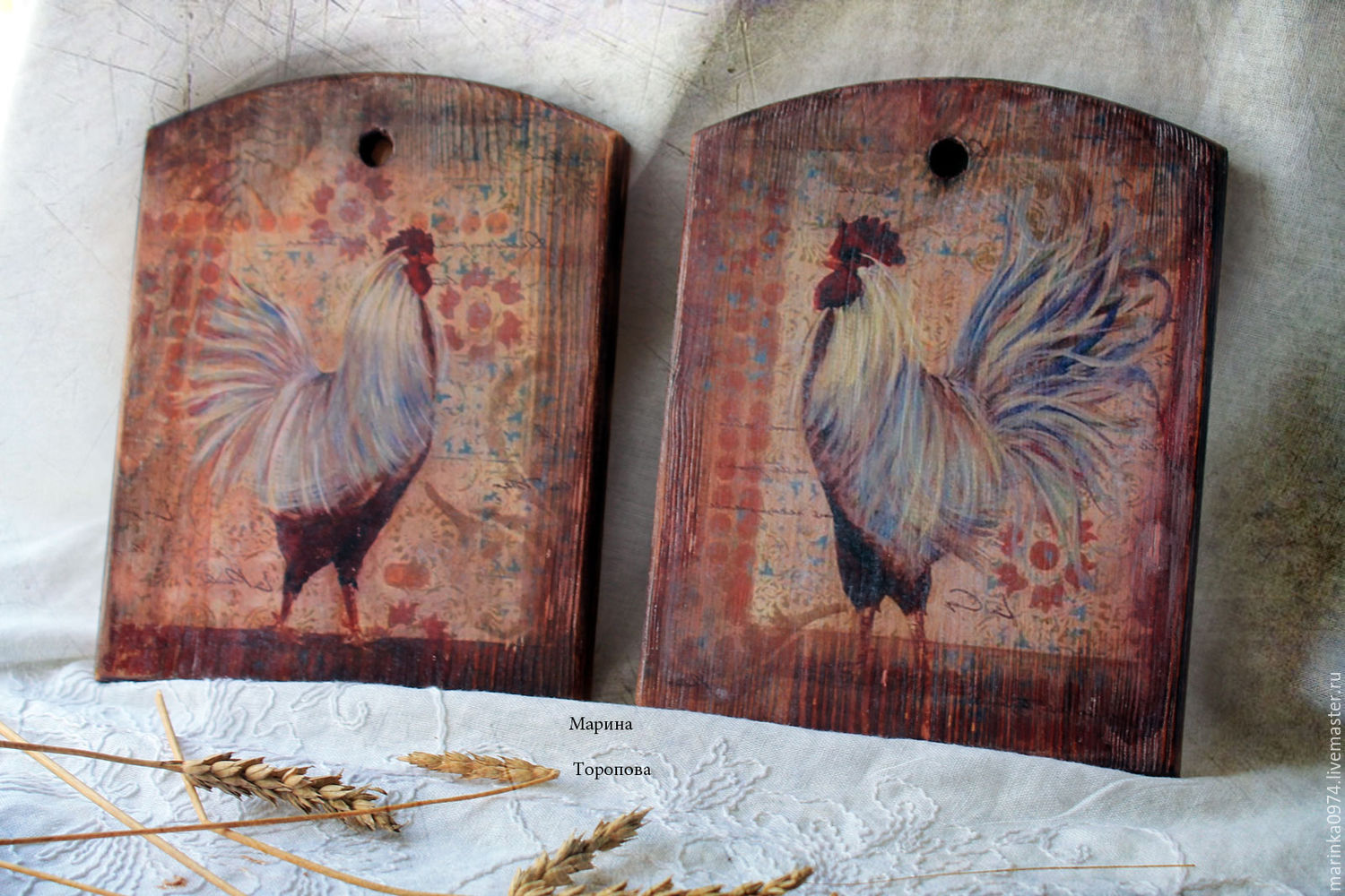 Kitchen handmade. Livemaster - handmade. Buy Lot of boards-panels ' Vintage pictures. Cockerel and a hen'.