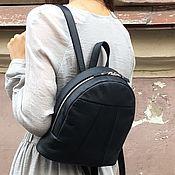 Сумки и аксессуары handmade. Livemaster - original item Backpack small dark blue genuine leather. Handmade.