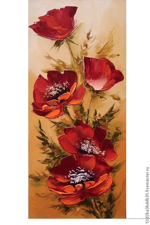 Картины цветов ручной работы. Ярмарка Мастеров - ручная работа. Купить Маковый букет. Handmade. Картина, картина в подарок