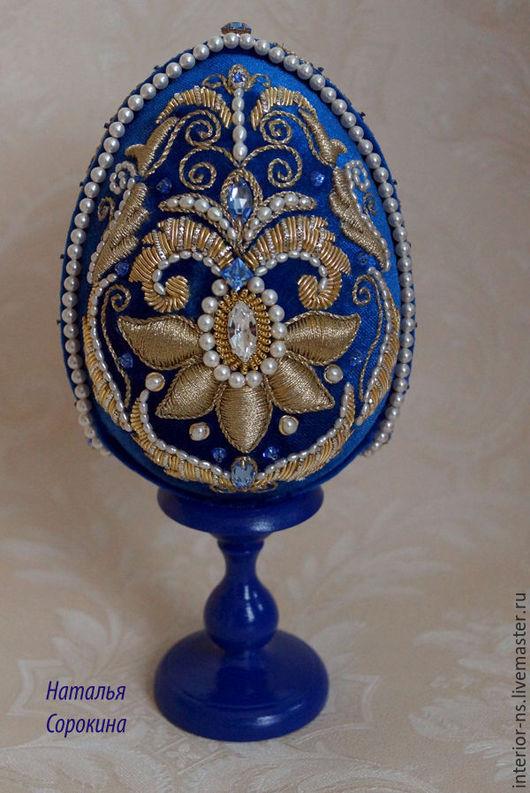 Яйца ручной работы. Ярмарка Мастеров - ручная работа. Купить Яйцо  с ручным декором. Золотое шитьё. Handmade. Тёмно-синий