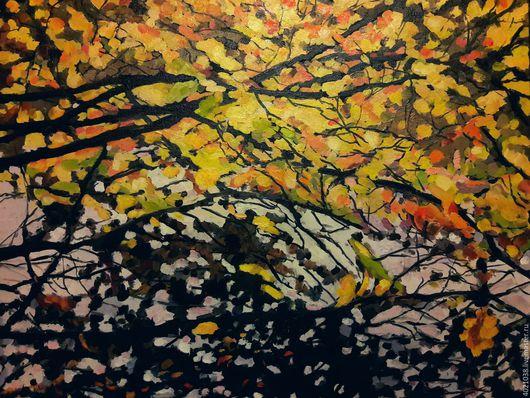 Пейзаж ручной работы. Ярмарка Мастеров - ручная работа. Купить Золотая осень. Handmade. Оранжевый, деревья, яркий, современная живопись
