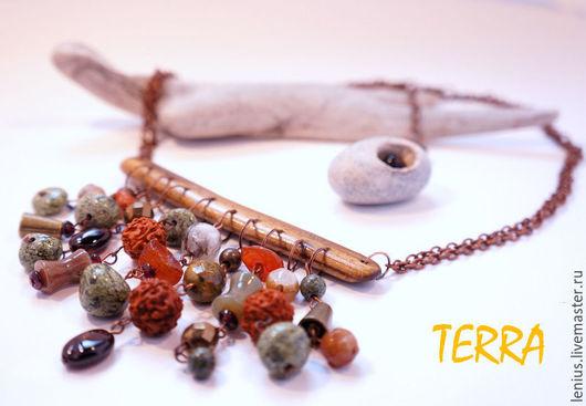 Колье на цепочках, дерево и натуральные камни, мастер Юсова Елена, мастерская TERRA