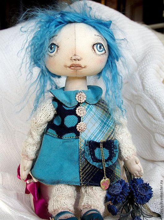 """Куклы тыквоголовки ручной работы. Ярмарка Мастеров - ручная работа. Купить Кукла тыквоголовка. """"Поночка"""". Handmade. Бирюзовый, интерьерная кукла"""