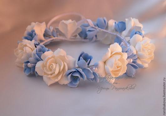 Свадебные украшения ручной работы. Ярмарка Мастеров - ручная работа. Купить Венок из гардений и голубых фрезий. Handmade. Голубой