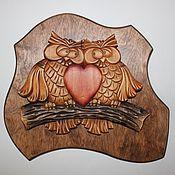 """Картины и панно ручной работы. Ярмарка Мастеров - ручная работа Панно """"Совушки"""". Handmade."""