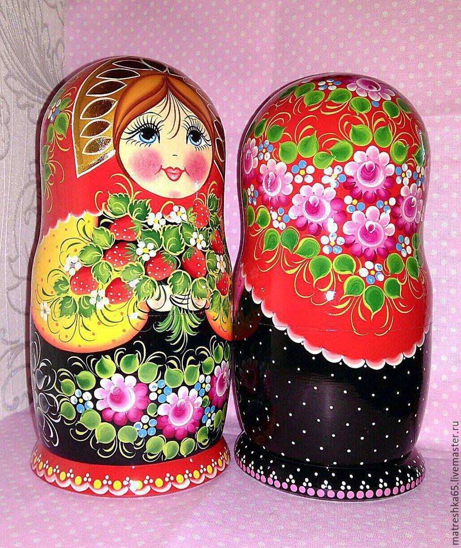 matryoshka 5 PCs, hand-painted Strawberries, Dolls1, Petrozavodsk,  Фото №1