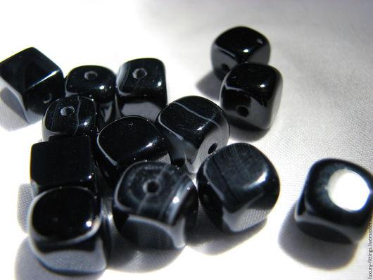 Для украшений ручной работы. Ярмарка Мастеров - ручная работа. Купить Черный агат кубики. Handmade. Бусина для браслета, агат