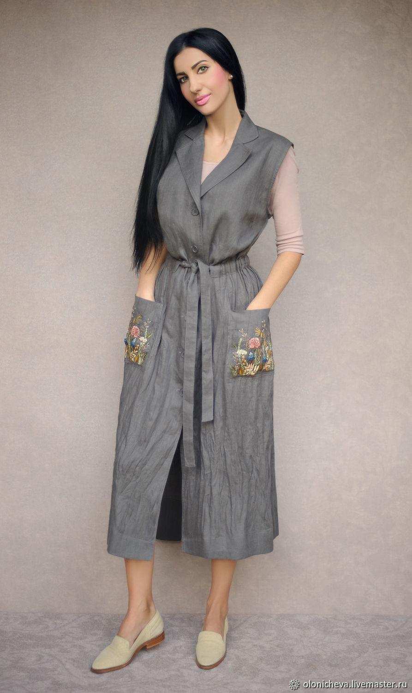 Платья ручной работы. Ярмарка Мастеров - ручная работа. Купить Стильное платье-халат с ручной вышивкой 'Флора' летний плащ. Handmade.