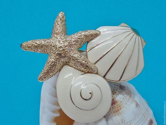 """Винтажные украшения. Ярмарка Мастеров - ручная работа. Купить Брошь """" Дары моря""""  Trifari. Handmade. Винтажная брошь, винтаж"""