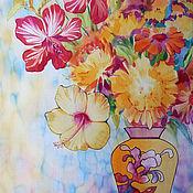 """Картины и панно ручной работы. Ярмарка Мастеров - ручная работа Батик панно """"Летний букет"""". Handmade."""