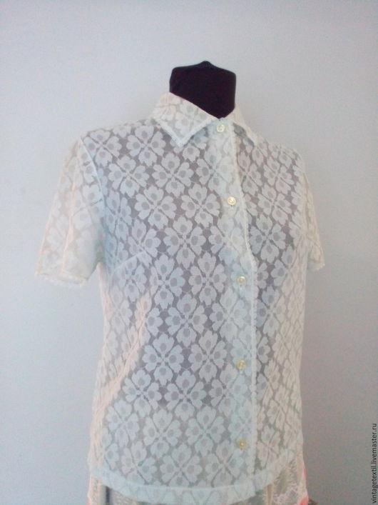 Одежда. Ярмарка Мастеров - ручная работа. Купить Гипюровая рубашка. Винтаж. Югославия. Handmade. Голубой, винтаж, ретро-стиль, гипюр