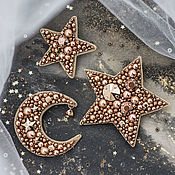 Brooches handmade. Livemaster - original item Embroidered star and moon brooches with Swarovski crystals. Brooch Crescent. Handmade.