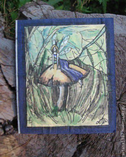"""Открытки на все случаи жизни ручной работы. Ярмарка Мастеров - ручная работа. Купить авторская открытка """"Фея на грибке"""". Handmade. сказка"""