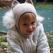 Работы для детей, ручной работы. Ярмарка Мастеров - ручная работа Шерстяная шапочка-кошка. Handmade.