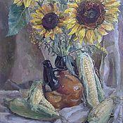 Картины и панно ручной работы. Ярмарка Мастеров - ручная работа Натюрморт с кукурузой и подсолнухами. Handmade.