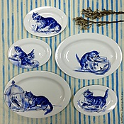 Посуда handmade. Livemaster - original item Painted porcelain Plates on the wall Kittens. Handmade.