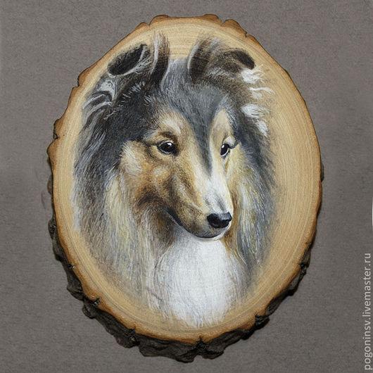 """Животные ручной работы. Ярмарка Мастеров - ручная работа. Купить Рисунок на спиле """"Шелти"""". Handmade. Дерево, акварель, рисунок, собака"""