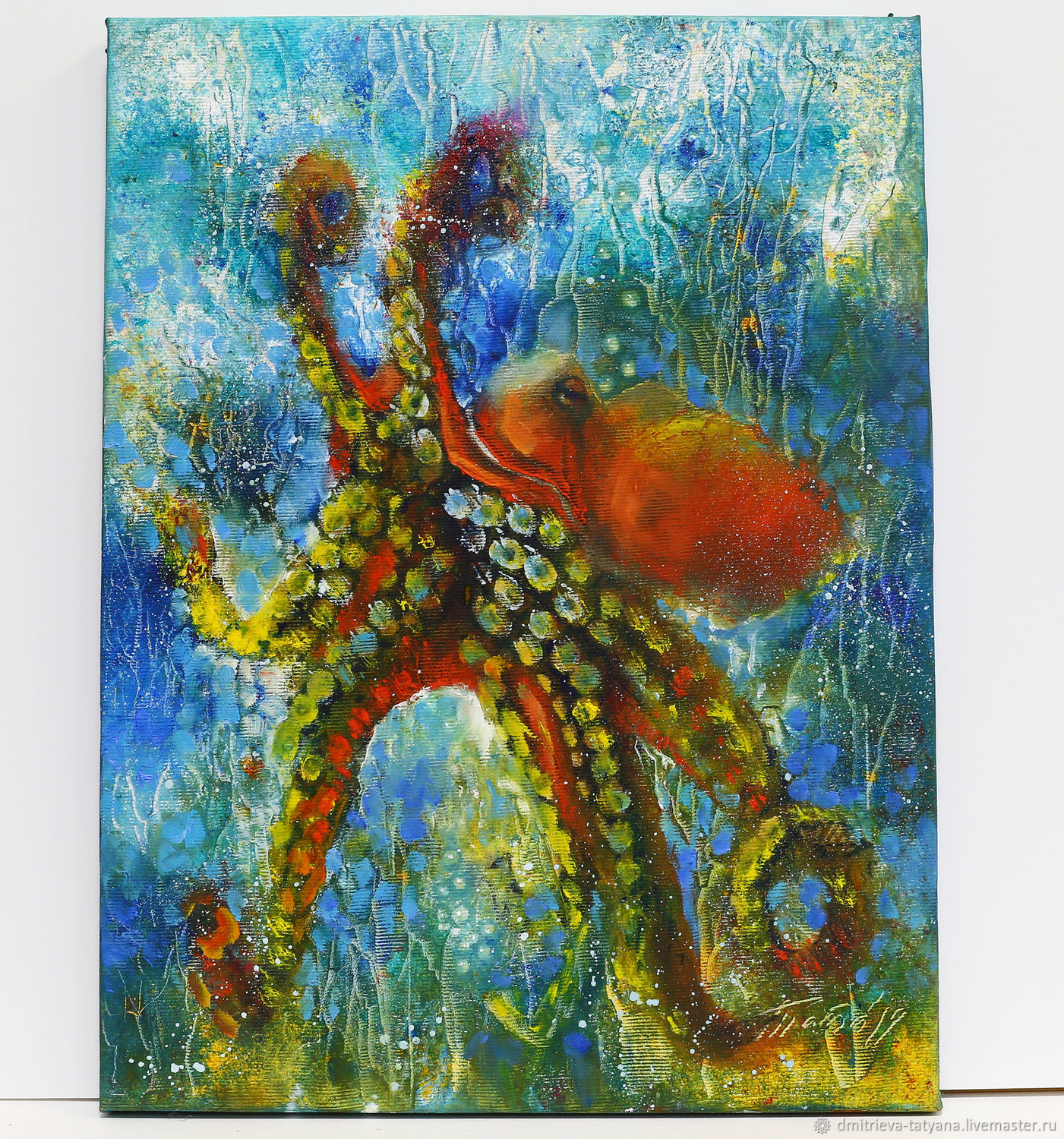 Octopus oil painting on canvas undersea world of abstraction with a palette knife, Pictures, Schyolkovo,  Фото №1