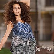 """Одежда ручной работы. Ярмарка Мастеров - ручная работа Авторское платье-туника """"Сны Белых мотыльков"""" синий, белый, черный. Handmade."""