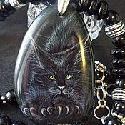 Украшения handmade. Livemaster - original item Buttercup – a black cat with Golden eyes – painting on Agatha. Handmade.