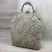 Сумки и аксессуары handmade. Livemaster - original item Bag with clasp linen knitted. Handmade.