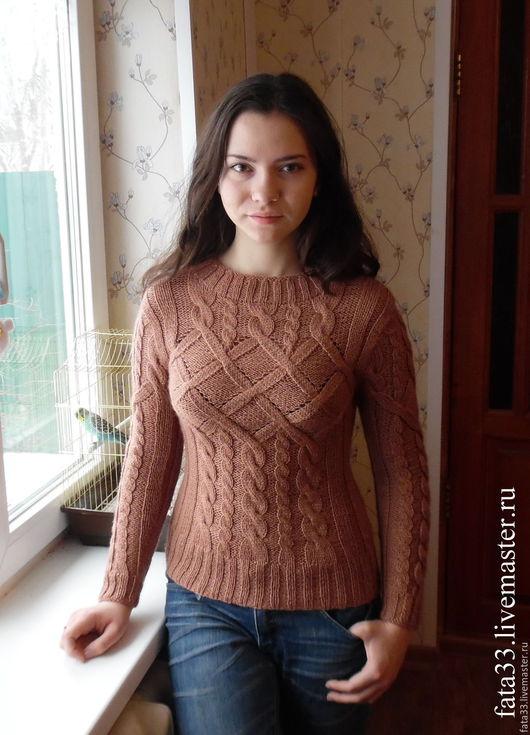 Кофты и свитера ручной работы. Ярмарка Мастеров - ручная работа. Купить Пуловер по мотивам Phildar. Handmade. Бежевый, круглый вырез