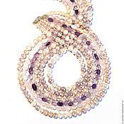 """Necklace handmade. Livemaster - original item Бусы """"Сиреневый туман"""", жемчуг речной, розовый кварц, аметист. Handmade."""