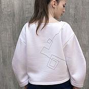 Одежда ручной работы. Ярмарка Мастеров - ручная работа Белый свитшот с вышивкой / Стильный свитшот. Handmade.