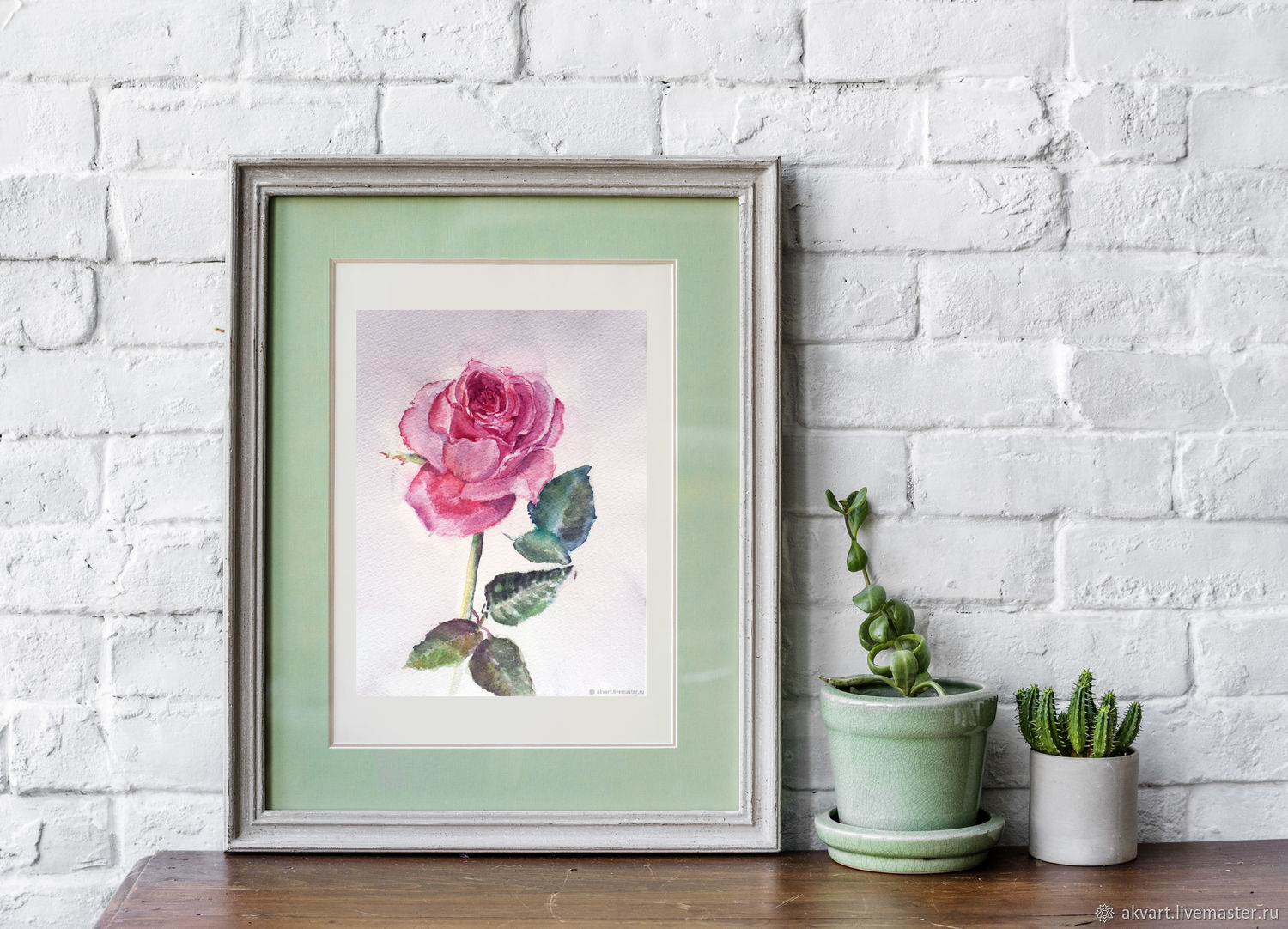 Watercolor. Watercolor miniature. Flowers. Rose, Pictures, Moscow,  Фото №1