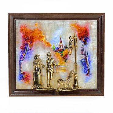 """Картины и панно ручной работы. Ярмарка Мастеров - ручная работа КАРТИНА """"Вечерняя прогулка. Москва"""" с подсветкой. Handmade."""