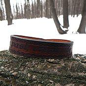 Bead bracelet handmade. Livemaster - original item A leather bracelet with the engraving Create the future. Handmade.