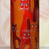 Посуда handmade. Livemaster - original item Bottle Cats Spring, painting on ceramics. Handmade.