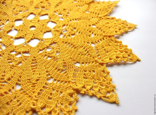 """Текстиль, ковры ручной работы. Ярмарка Мастеров - ручная работа. Купить Салфетка ажурная. """"Солнца круг..."""". Handmade. Желтый"""