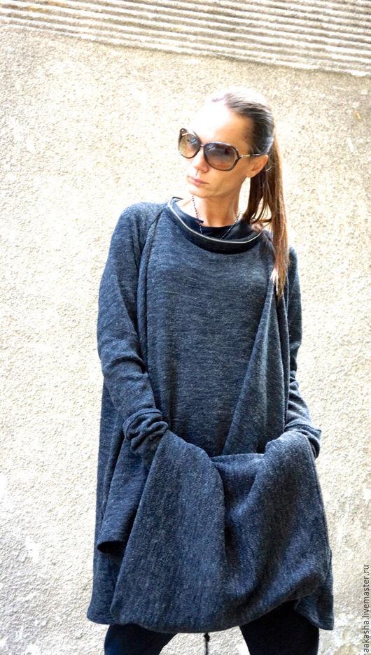 туника теплая кофта из шерсти серый меланж теплая одежда ассиметричная одежда свободный стиль