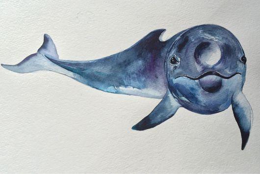 Животные ручной работы. Ярмарка Мастеров - ручная работа. Купить Дельфин. Handmade. Дельфин, акварельная картина, море, акварельные краски