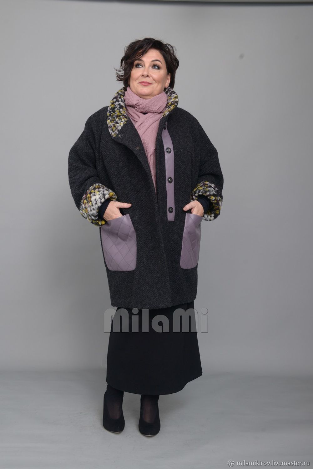 Woolen coat with leather and luxury boucle (Italy) Art. Four thousand ninety seven, Coats, Kirov,  Фото №1