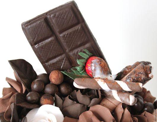 Шоколадный десерт,  для любителей кофе, десерт, из цветов, подарок, приятного аппетита