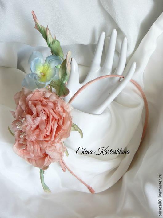 """Диадемы, обручи ручной работы. Ярмарка Мастеров - ручная работа. Купить Ободок с шелковой староанглийской розой""""Нежные чувства"""". Handmade."""