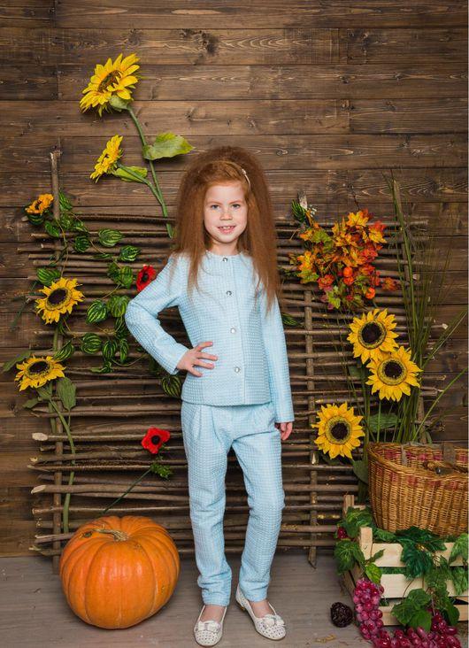 Одежда для девочек, ручной работы. Ярмарка Мастеров - ручная работа. Купить Элегантный голубой костюм с брюками. Handmade. Жакет